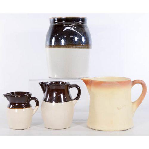 Glazed Pottery Pitchers with Crock