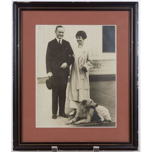 Calvin Coolidge and Wife Grace w/Family Dog Signed Photo with JSA Authentication