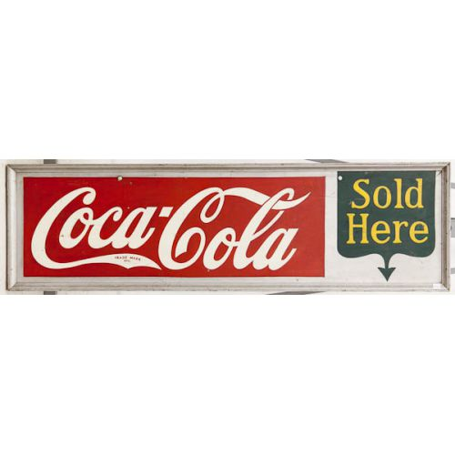 Painted Wooden Coca-Cola Sold Here Sign