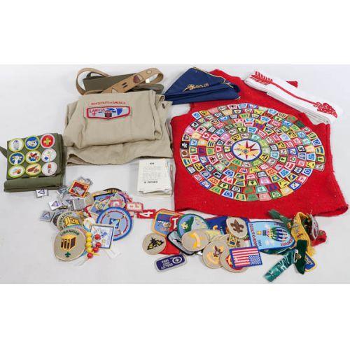 Boy Scout Items Including Badges, Pins, Belts, Vest, Uniform