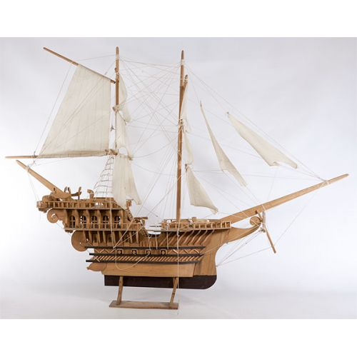 Two-Masted Scale Model Ship with Sails on Display Stand
