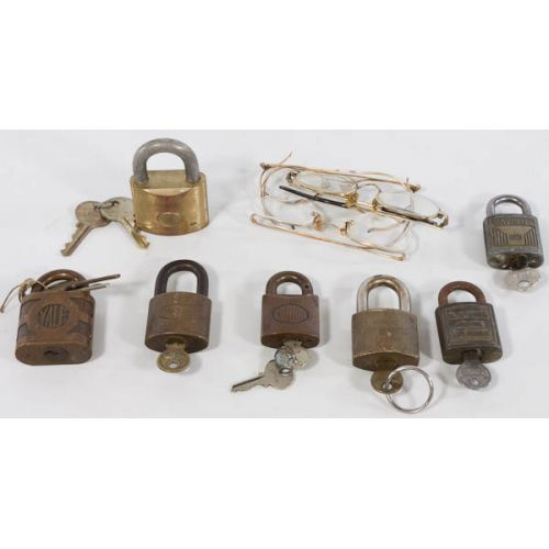 Collection of pad locks with matched keys (7pcs)