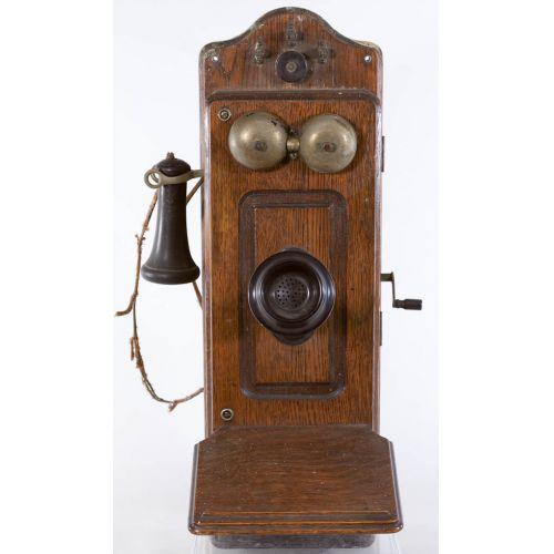 c1900 Kellogg Single Battery Oak Wall Telephone