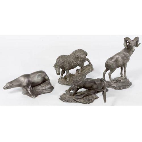 (4) 1975-76 Franklin Mint Pewter Animals