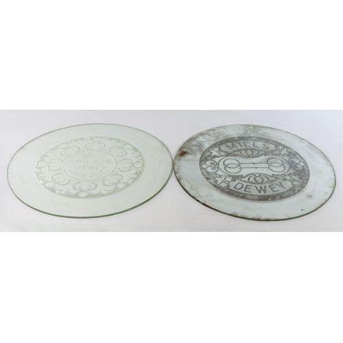 Pair of Western Sand Blast Co Circular Glass Slot Machine Covers