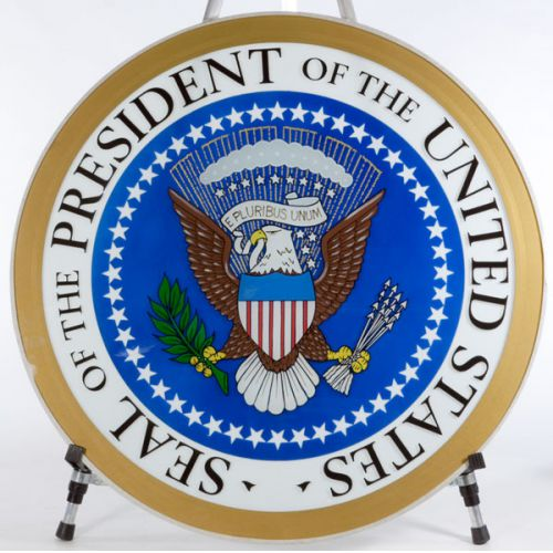 One of Four Glass Presidential Seals Used on the Ferdinand Magellan Presidential Rail Car, US No. 1