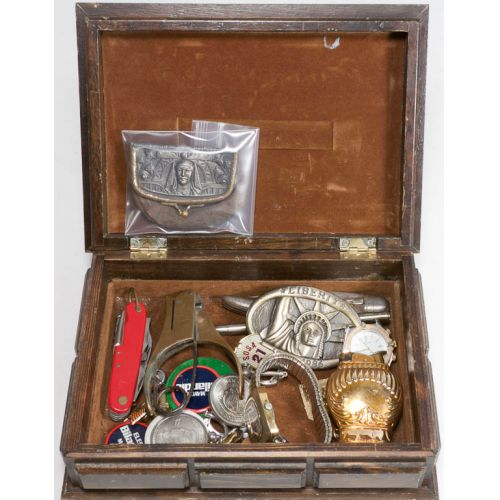Jewelry Box of Knives, Watches, Coins, Lighter & More