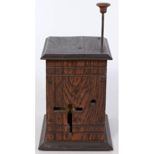 Carved Oak Mechanical Cigarette Dispenser & Cutter