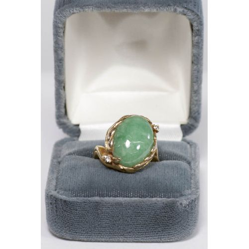 14k Gold Ring with a Cabochon Jadeite & Diamond Chips
