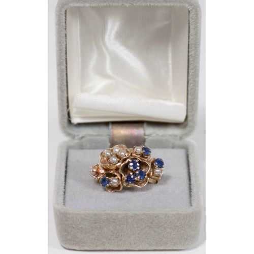 14k Gold Ring with Sapphires & Seed Pearls in a Floraform