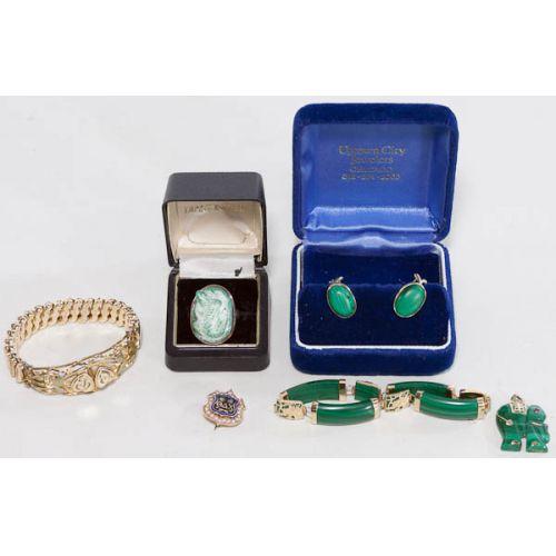 14k Gold & Malachite Jewelry Set, 12k Gold Frat Pin with Diamonds, more