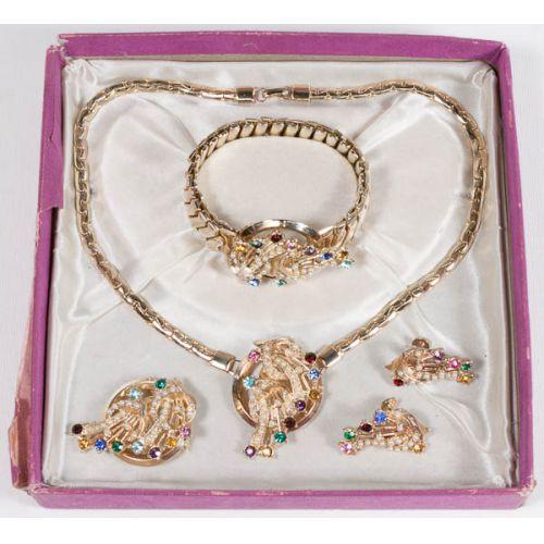 Occupied Japan Rhinestone & Faux Pearl Jewelry Set