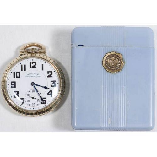 Hamilton 992B 21 Jewel Pocket Watch with Plastic Flip Top Box