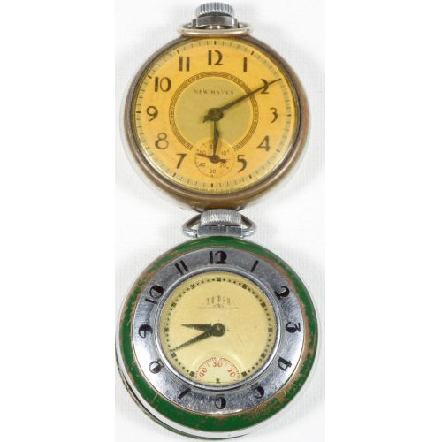 New Haven & Ingram Tower Deco-style Pocket Watches (2pcs)