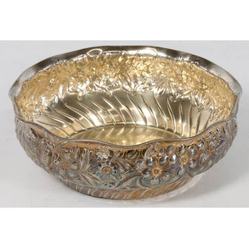 Sterling Repousse Center Bowl with Floral Design