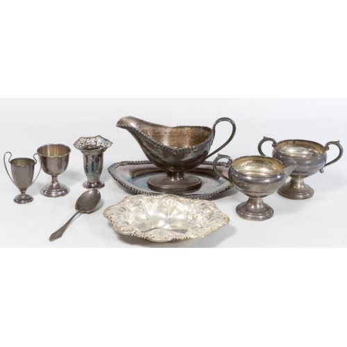 Collection of Sterling with Silverplate Gravy Boat & Tray