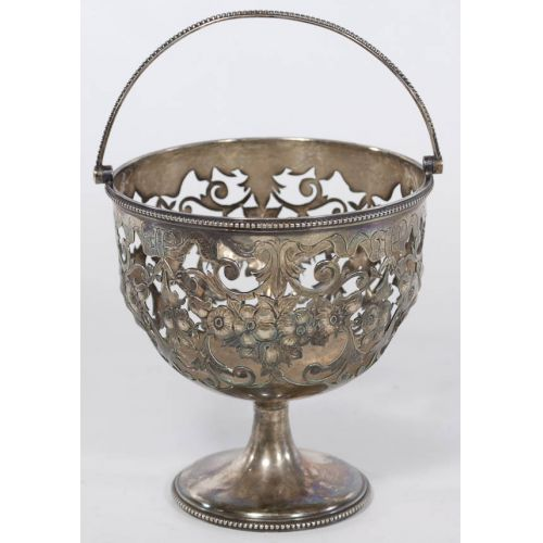Pierced Silver Plate Handled Decorative Cup