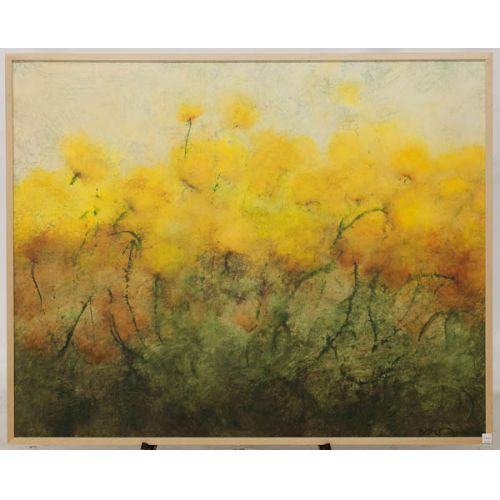 """Field of Yellow Flowers"" by Dave Golden Framed on Board"