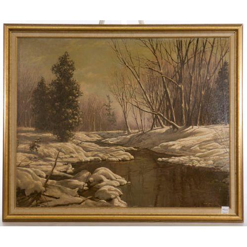 """Winter Landscape"" by George Fletcher (Canadian) Framed Oil on Board"