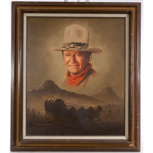 """""""John Wayne on the Prairie"""" by Peter Shinn Framed Oil on Canvas"""