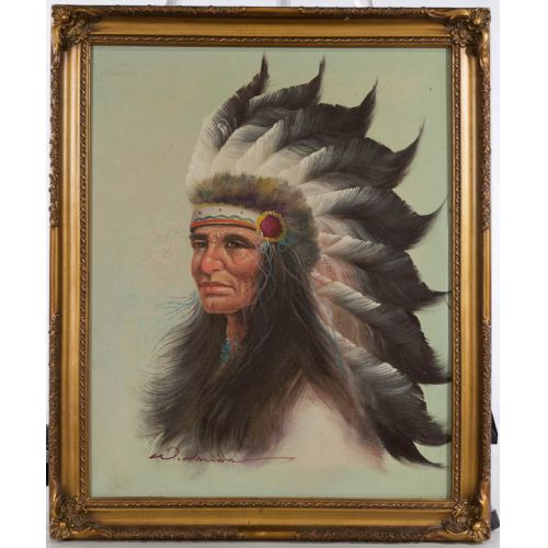 """American Indian in Headdress"" Framed Oil on Canvas"