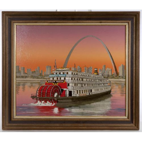 """""""Delta Queen Pulling into St Louis"""" by H Hargrove Framed Print on Canvas"""