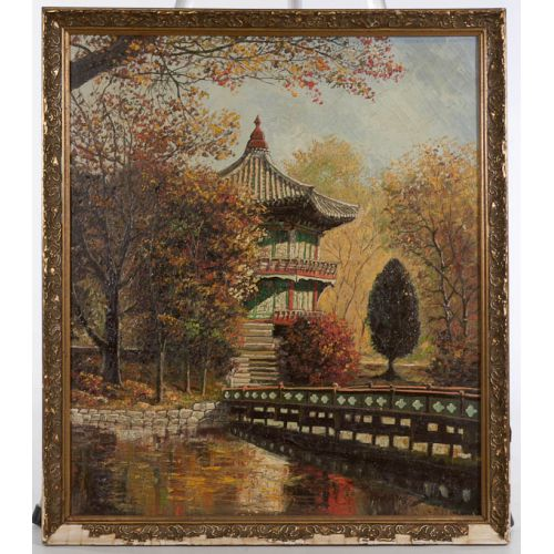 """""""Pagoda by the Bridge"""" Framed Oil on Canvas"""