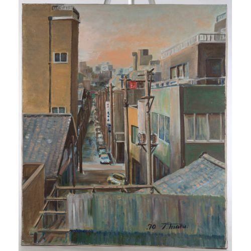 """""""Street with Utility Poles"""" by T Maru Unframed Oil on Canvas"""