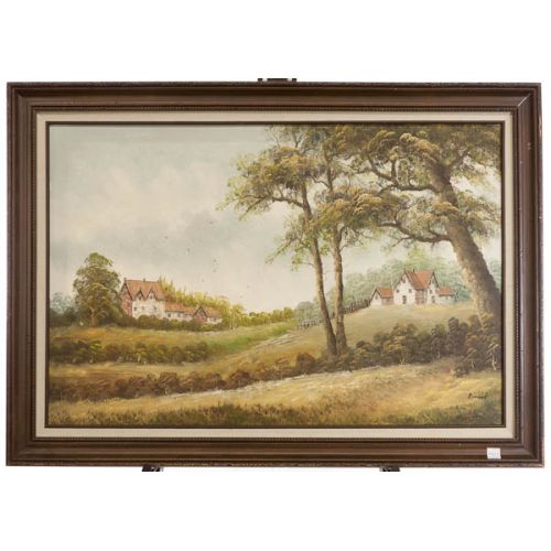 """""""Country Cottages"""" by Romand Framed Oil on Canvas"""