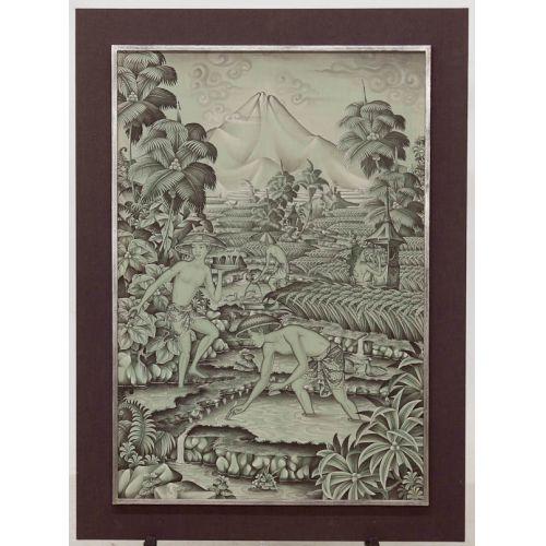 "K Sudana ""Ubud, Bali"" Print on Cloth Framed"