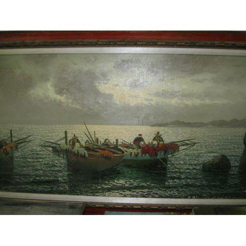 Framed Oil on Canvas - Fishermen