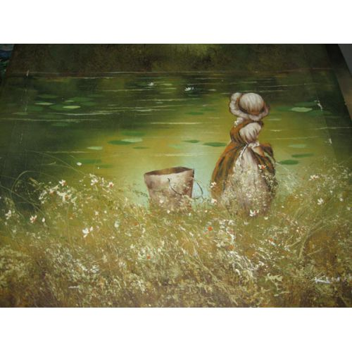 Oil on Canvas - Girl by the Shore