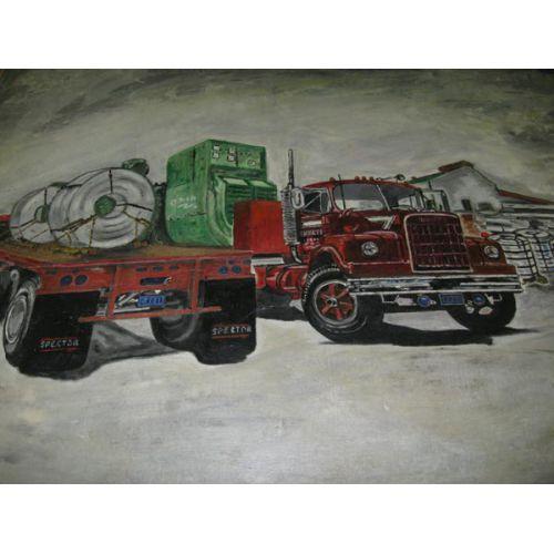 Framed Oil on Canvas - Trucks