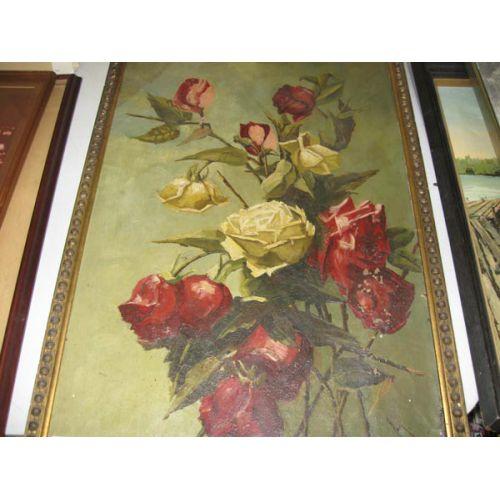 Framed Oil on Canvas - Roses