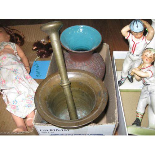 Mortar & Pestle with Metal Vase