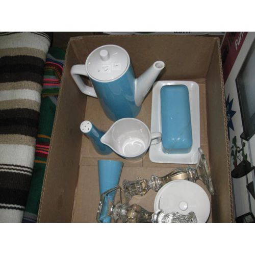 Blue & White Tea Set with Glass Candlesticks