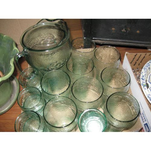 Green Glass Coca-Cola Set with Pitcher & Glasses
