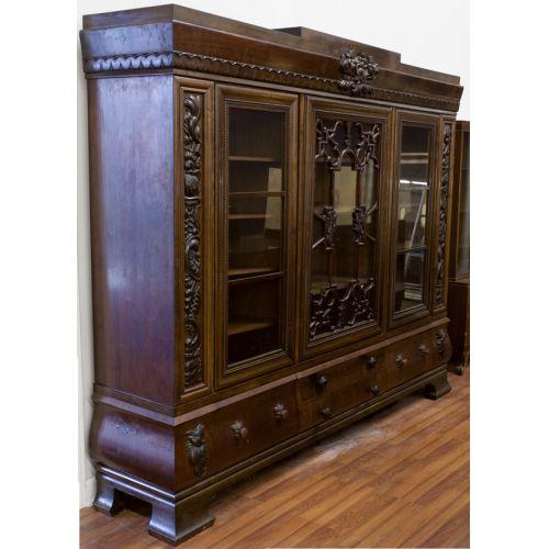 Carved Mahogany Library Bookcase