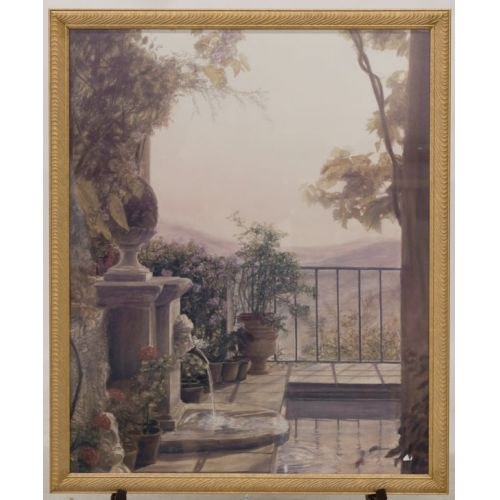 Balcony with Fountain Overlooking Hills Print Framed