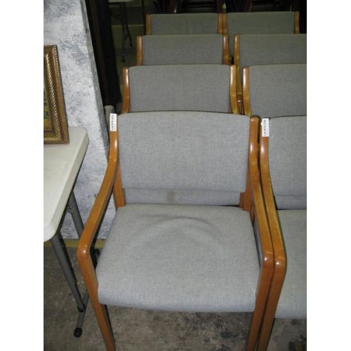 Wooden Arm Chair with Light Blue Upholstery