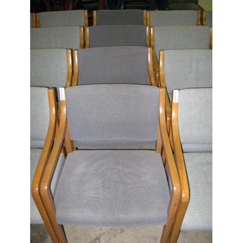 Wooden Arm Chair with Medium Blue Upholstery
