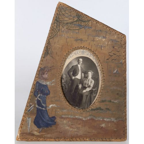 Photo of Couple in Unique Wooden & Cane Frame