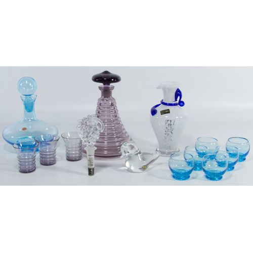 Italian Blue Glass Stoppered Decanter with Glasses