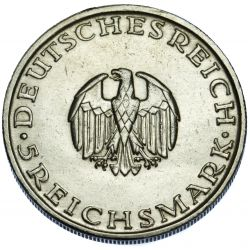 View 2: Germany: 1929-D 5 Mark AU