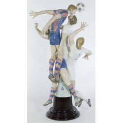 "View 3: Lladro ""Soccer Players"" #1266 Glazed Retired LE 204/500 on wooden base"