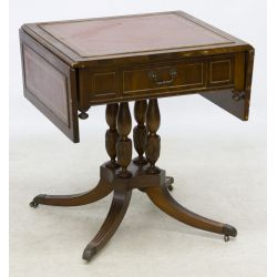 View 2: Mahogany Leather Top Drop Leaf Table