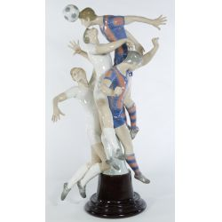 "View 2: Lladro ""Soccer Players"" #1266 Glazed Retired LE 204/500 on wooden base"