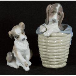 "View 2: Lladro ""Dog in Basket"" #1128 Glazed Retired & ""New Friend"" #6211 Glazed Active"