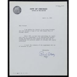 View 10: (3) Richard J. Daley, Chicago Mayor, Signed Letters - 1957-1965