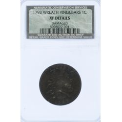 1793 1c Wreath Vine & Bars XF Details NCS